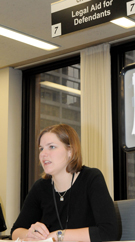 Stephanie Berube works at the Daley  Center Legal Advice desk in April for  those needing legal aid. The desk is located on the sixth floor in room 602 at  the Daley Center. Photo by Chris Bernacchi